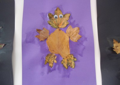 Leaf art at Greatworth PreSchool Near Brackley