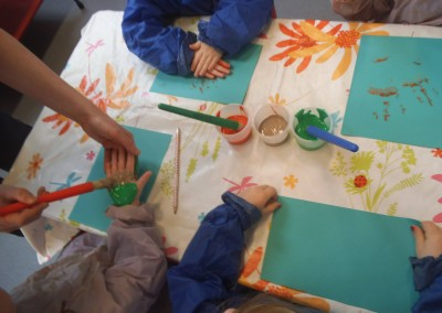 Hand painting  at Greatworth PreSchool Near Brackley