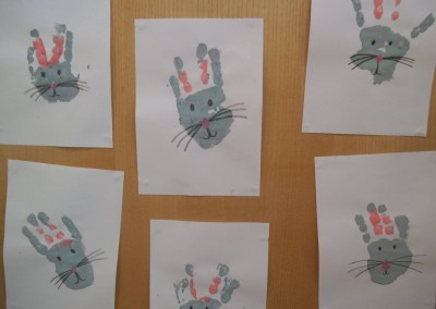 Rabbit Hand painting at Greatworth PreSchool Near Brackley